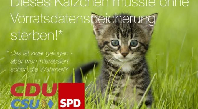 Katzen gegen Vorratsdatenspeicherung